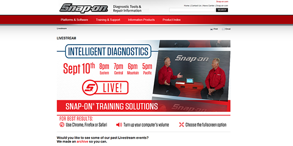 Snap-on Offers Intelligent Diagnostics Livestream Training Session