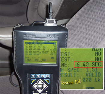 figure 4: a forced evap monitor was run on our subject vehicle.