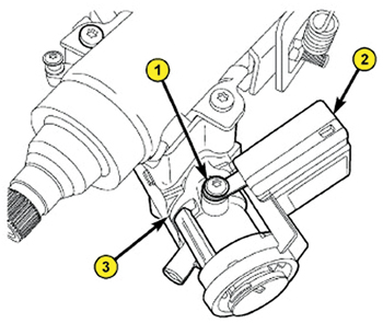 1. Slide the ring of the SKREEM/WCM (2) over the lock cylinder housing (3) and engage the retainer fingers in the recesses formed on the lock cylinder housing.  2. Install the screw (1) fastening the SKREEM/WCM (2) to the lock cylinder housing (3). Tighten the screw to 3.5 N·m (31 in.-lbs.).