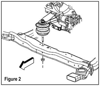 tech tip taming a growling buick lucerne remove the engine front mount to frame nut figure 2