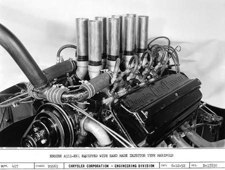 is this the first fuel-injected hemi engine built by chrysler? this 331-cubic-inch chrysler firepower hemi was an early version of the a311 series being developed for the 1953 indianapolis 500-mile race. meanwhile, a california hot rodder named ray brown was already secretly preparing a chrysler hemi with hilborn fuel injection for the bonneville salt flats race. find out all about this and more at www.hemi.com.