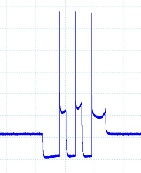"figure 3: ignition primary pattern taken from a late-model ford f-150. notice the three pulses within one cylinder event. this is known as ""multi-strike"" and occurs at lower engine speeds such as idle and acts to reduce emissions."